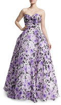 Naeem Khan Sweetheart-Neck Strapless Floral-Print Gown, Purple/White
