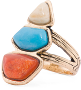 Made In Thailand African Opal Turquoise And Red Coral Ring