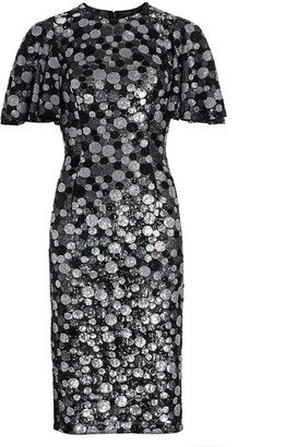 Michael Kors Metallic Paillette-Print Sheath Dress