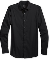 Armani Exchange Men's Black Texture-Stripe Shirt