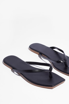 Nasty Gal Womens Slip's Meant to Be Faux Leather Toe Thong Sandals - Black