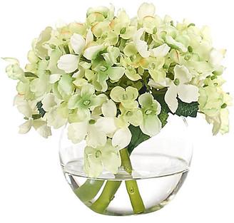 """7"""" Hydrangea in Bubble Vase - Faux - NDI - arrangement, green; vessel, clear"""