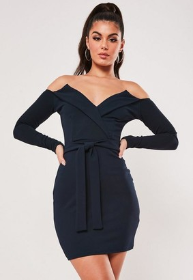 Missguided Navy Belted Bardot Bodycon Mini Dress