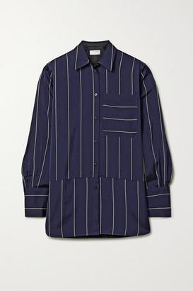 La Ligne Sadie Paneled Striped Crepe De Chine Shirt - Navy