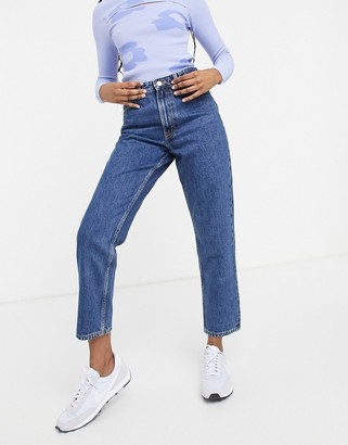 Monki Taiki organic cotton high waist mom jeans in la lune