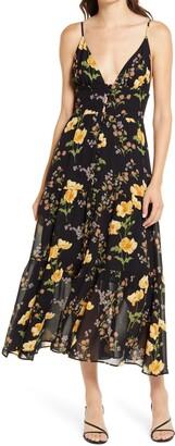 Reformation Jaden Floral Print Tiered Midi Dress