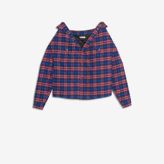 Balenciaga Swing Canadian Shirt in blue and red checked cotton flannel