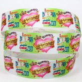 """mdribbons mdribbon 7/8"""" 50 Yds/Roll I wear Bows & my daddy wears combat Boots Print Ribbon-Hair Bow Hair Clip Supplies,Gift Card Party Decoration Fabric"""
