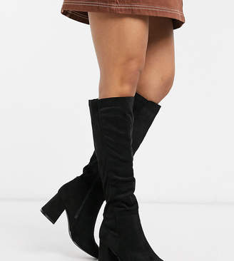 New Look Wide Fit wide fit over the knee heeled boots in black