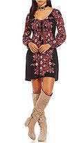 Chelsea & Violet Scoop Neck Long Sleeve Printed Dress