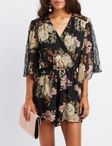 Charlotte Russe Floral Lace-Inset Kimono Romper