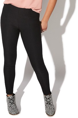 Juniors' Vylette Yoke Skinny Menswear Pull-on Pants