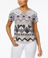 Alfred Dunner Geo-Print Beaded Top