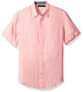 Nautica Men's Short Sleeve Classic Fit Solid Linen Button Down ShirtLarge