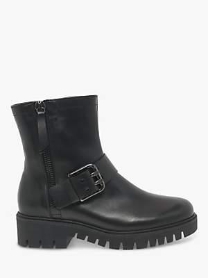 Gabor Valarta Wide Fit Buckle Biker Boots, Black