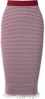 Kenzo Striped Ribbed Stretch Cotton-blend Midi Skirt - Burgundy