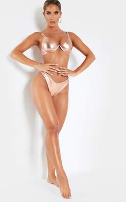 PrettyLittleThing Rose Gold V Underwire Chain Strap Detail Bikini Top