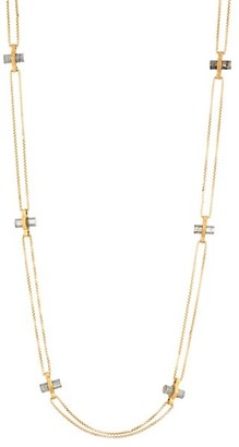 Dean Davidson Core 22K Yellow Goldplated & Labradorite Signature Bar Charm Necklace