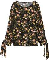 Banana Republic Floral Open-Sleeve Top with Tie Cuffs