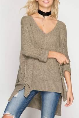 She + Sky Oversized V-Neck Sweater