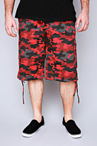 Yours Clothing NOIZ Red & Black Camo Print Cotton Cargo Shorts With Pockets