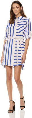 Milly Women's Washed Linen Striped Button Down Casual Shirtdress