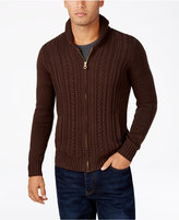 Sean John Men's Cable-Knit Zip-Up Cardigan Sweater