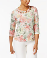 Alfred Dunner Petite Floral-Print Lattice Top