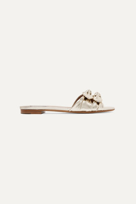 Tabitha Simmons Cleo Bow-embellished Metallic Leather Slides - Gold