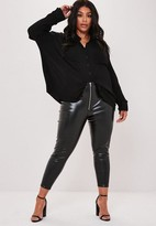 Missguided Plus Size Black Faux Leather Zip Detail Leggings