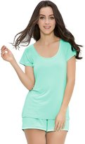 GYS Women's Bamboo Sleepwear Short Sleeve Crew Neck Pajama Set With Pj Shorts (Aqua, Pink, S-2XL) (S, )
