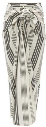 Mara Hoffman Izzi Tie-front Striped Canvas Skirt - Black Stripe