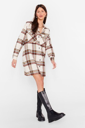 Nasty Gal Womens Check It Out Oversized Shirt Dress - Cream