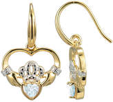 JCPenney FINE JEWELRY Heart-Shaped Genuine Aquamarine and Diamond-Accent Claddagh Earrings