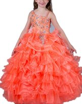 ACE Big Girls' Special Occasion Long Pageant Flower Girl Dress (, Purple)