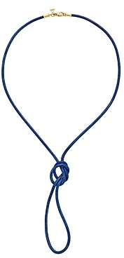 Temple St. Clair 18K Yellow Gold Classic Royal Blue Leather Cord Necklace, 32