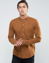 Asos Jersey Shirt In Rust With Long Sleeves