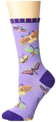 Socksmith Flutterbyes (Purple) Women's Crew Cut Socks Shoes