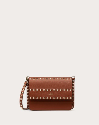 Valentino Small Rockstud Grainy Leather Crossbody Bag Women Saddle Brown 100% Pelle Di Vitello - Bos Taurus OneSize