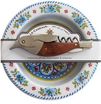 Le Cadeaux Melamine Wine Coaster & Corkscrew Set
