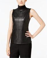 Calvin Klein Faux-Leather Mock-Neck Top
