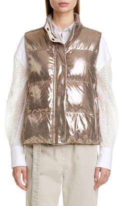 Brunello Cucinelli Reversible Sparkle Leather Down Puffer Vest