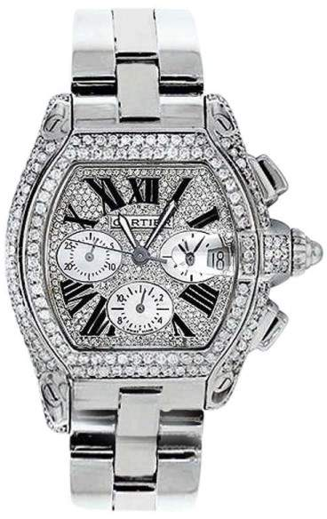Cartier Roadster W62020X6 Chronograph Stainless Steel Diamonds Dial Automatic 42.8mm Unisex Watch