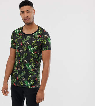Asos Design DESIGN Tall t-shirt with floral skull print and scoop neck-Black