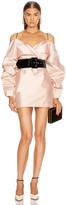 Rasario for FWRD Cold Shoulder Mini Dress in Pink Beige   FWRD
