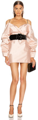 Rasario for FWRD Cold Shoulder Mini Dress in Pink Beige | FWRD