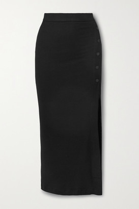 Alix Fordham Ribbed Stretch-modal Jersey Midi Skirt - Black