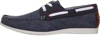 Onfire Mens Washed Canvas Boat Shoes Navy