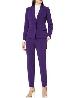 Le Suit Lesuit LeSuit Women's 1 Button Notch Collar Crepe Slim Pant Suit