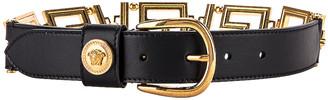 Versace Leather Belt in Black & Gold | FWRD